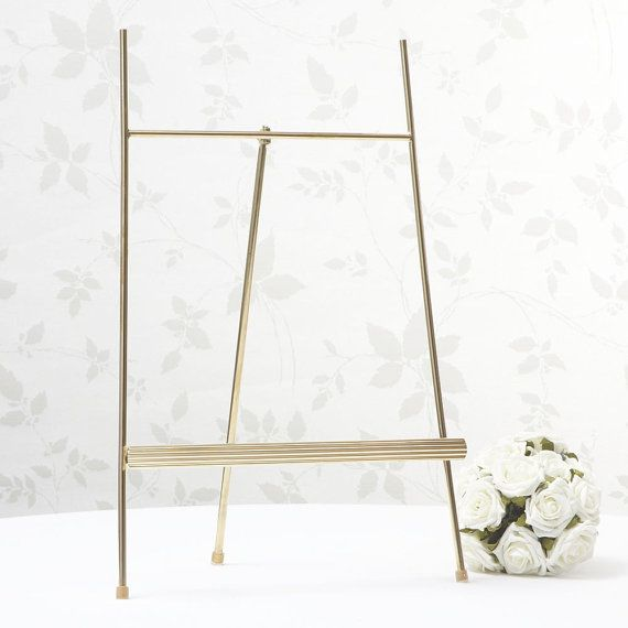 ***** Gold Display Easel /Wedding Table Plan Stand *****  This gold easel is perfect for displaying artwork/menus at events or occasions or