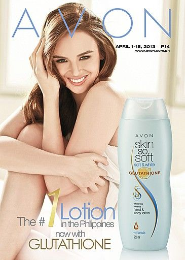 The #1 Lotion in the Philippines now with Glutathione! Skin So Soft Glutathione Whitening Renewal Hand & Body Lotion gives you visibly whiter skin in just 3 days! Find out about this amazing product by checking out our online brochure at http://www.avon.com.ph/PRSuite/pr_ebrochure.page!