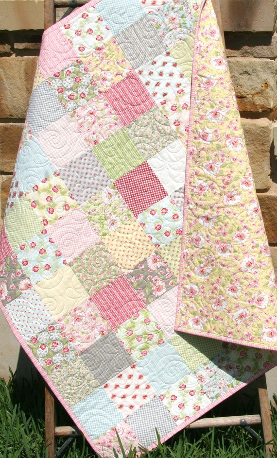 Shabby Chic Baby Quilt, Bedding Crib Nursery, Yellow Pink Blue Green Gray, Cottage Chic, Patchwork Blanket, Pastel Child Youth Roses Flowers by SunnysideDesigns2