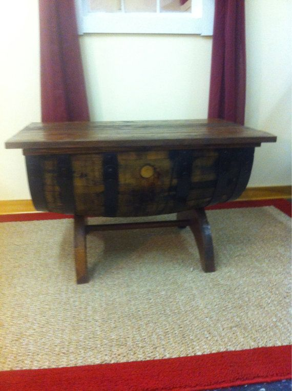 buy rustic oak whiskey barrel coffee table with storage crescent moon legs by