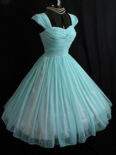 1950s perfectly aquamarine ruched chiffon party dress with 3-strand pearl necklace - adorable!