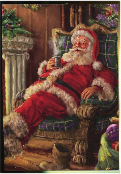 Santa is resting on armchair and drinking hot tea