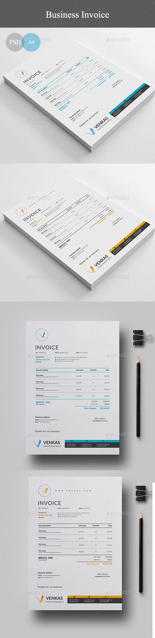 Invoice by linzo91 Invoice8.27×11.69 with 0.25�20bleeds Two Color variations300 DPI, CMYK, Print ready file Free Fonts Used
