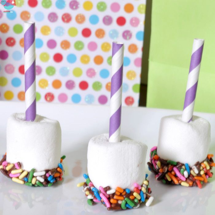 Birthday Chocolate Dipped Sprinkle Marshmallows with a Straw Candle - Colorful and festive birthday treat!