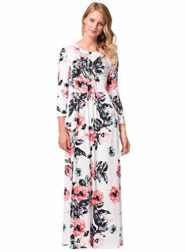 46adb94b1c1 Robe Longue Été Tunique Femme Maxi Robe Elegante Imprimé Florale Mode de  Soirée Casual Vintage Blanc