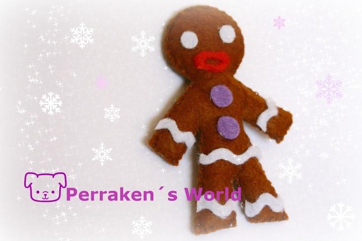 Mr. Gingerbread Man $3 El señor de jengibre para que lo pongas en un broche, llavero, imán, o como adorno navideño. Realizado en fieltro cosido y relleno de fibra de algodón. Medidas  8cm al. x 5,5cm an.Más información y encargos en uchiloki@gmail.com