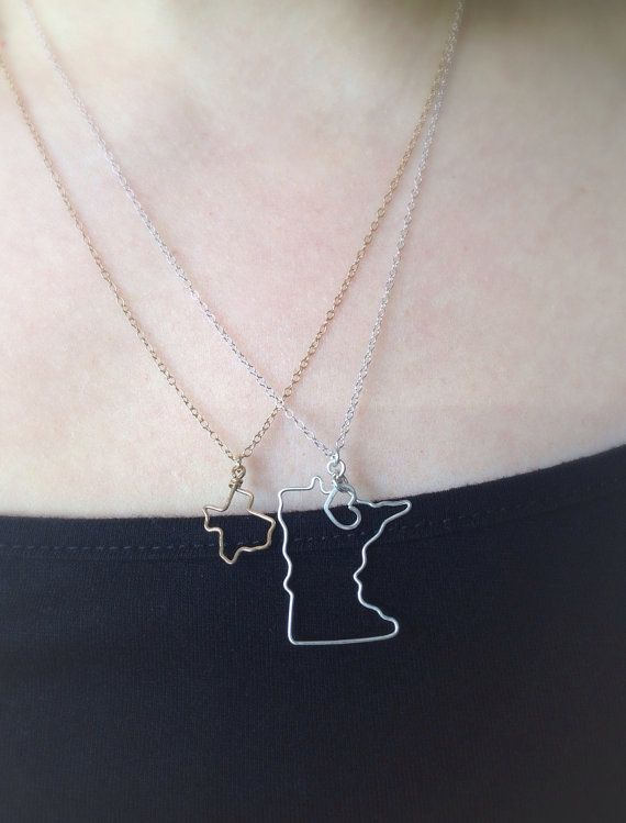 Small State Necklace Tiny State Outline Necklace by theFolk