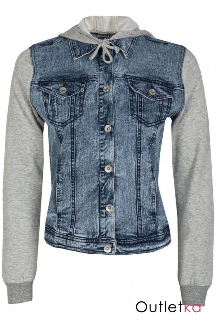 Nowa jeansowa kurtka firmy Select. Modny fason i must have sezonu. Kurtka uszyta z jasnego jeansu, zapinana na guziki. Z przodu posiada 4 kieszonki (2 górne - zapinane na guzik). Rękawy bawełniane w siwym kolorze, zakończone ściągaczem. U góry kołnierzyk. Kurtka posiada siwy kaptur, wiązany na końcu, co podkreśla jej ciekawy styl. Z kompletem firmowych metek.