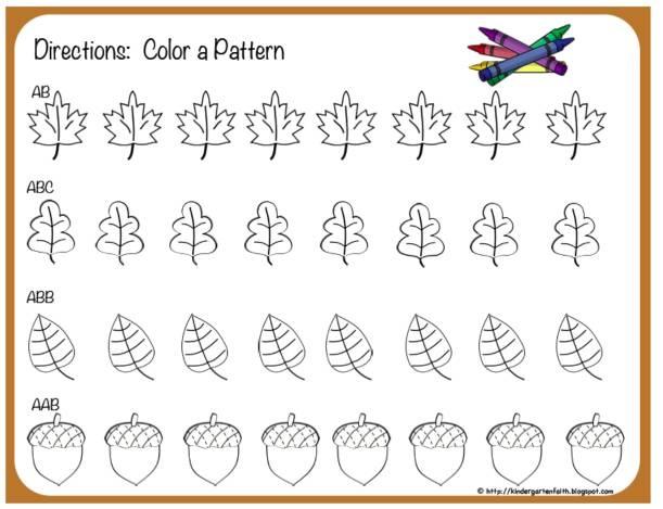 Kindergarten Faith: Fall Patterns- too cute!
