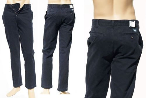 Pantaloni Uomo Dockers Levi's D2 Slim Flat Front Button Fly Blu Tg W31 L32