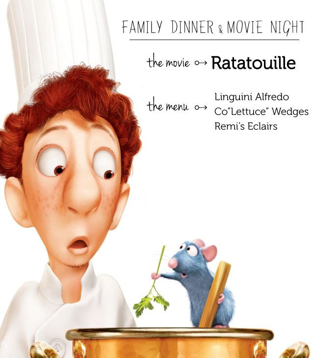 Ratatouille family dinner & movie night menu - such a cute way to have family night, love the themed meal