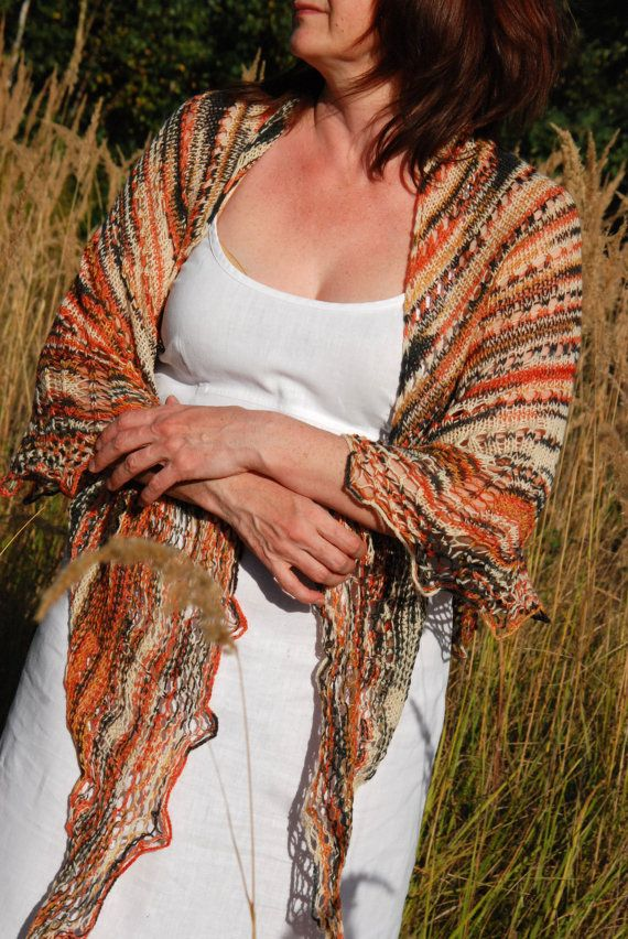 Warm Hand Knitted Lace Shawl Stole Scarf in Shades by aboutCRAFTS