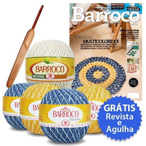 Kit Receita Barroco edição nº16 (Grátis Revista e Agulha) Confira: http://www.tricolinhas.com.br/artesanato/croche/kit-croche/kit-receita-barroco-edicao-n16-gratis-revista-e-agulha.html