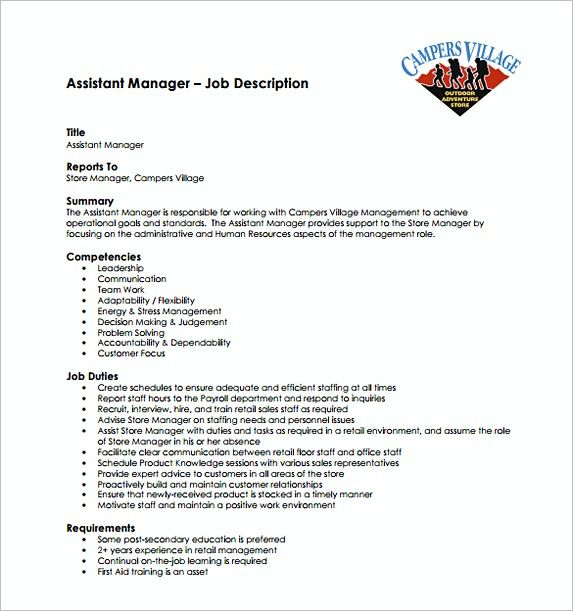 Assistant Store Manager Job Description Free Template  Assistant