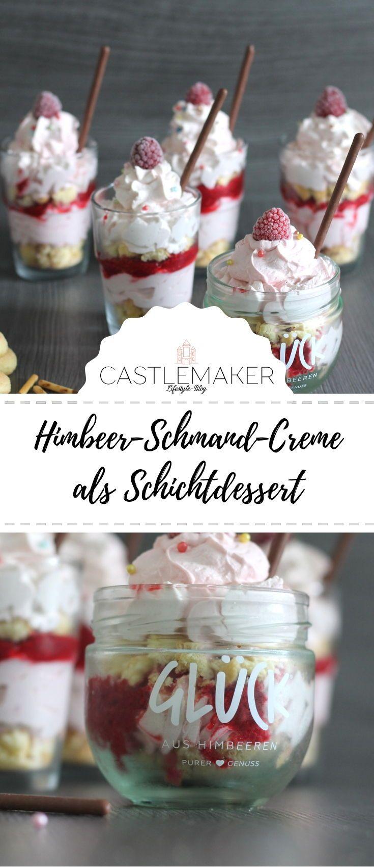Himbeer-Schmand-Creme als Schichtdessert im Glas
