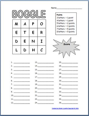 Free Boggle Templates for your Classroom | Minds in Bloom