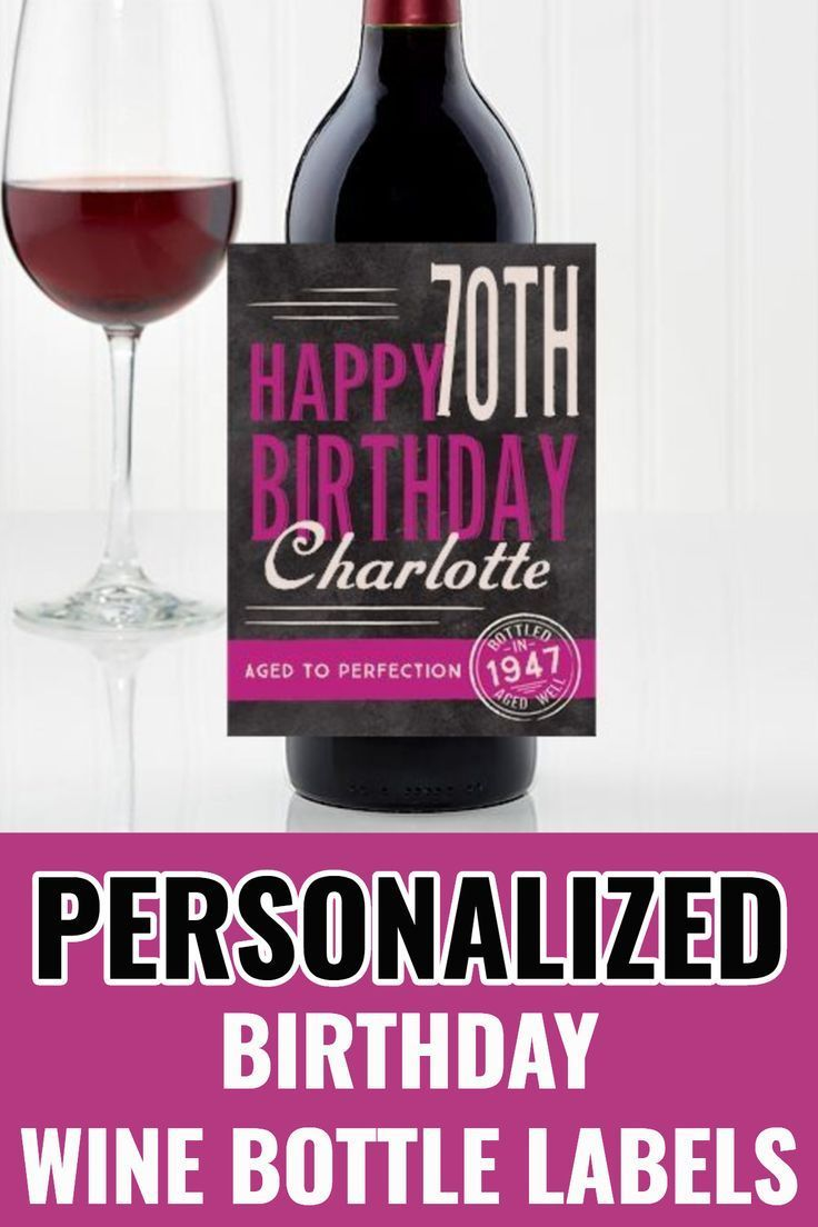 Personalised Red 70th Birthday Wine Bottle Label Gift for Women and Men