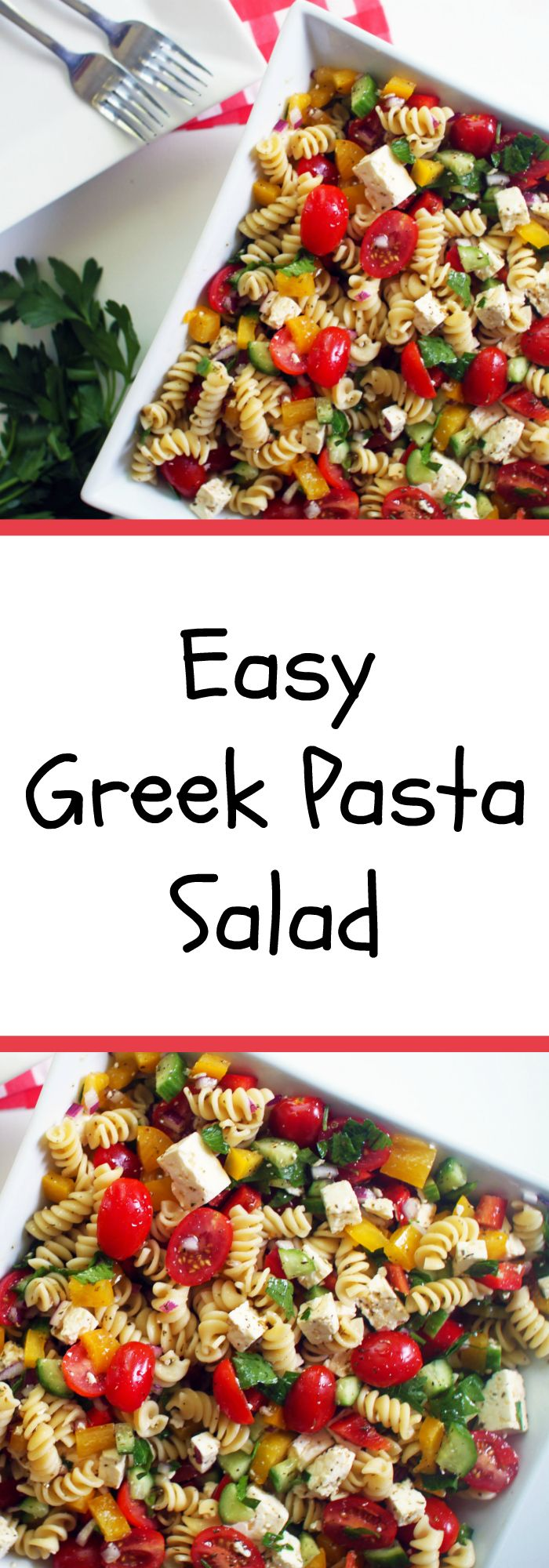 This easy Greek pasta salad is made with simple, basic ingredients including peppers, mini tomatoes, cucumber, feta, parsley and red onion. The vinaigrette is made with olive oil, red wine vinegar, lots of oregano, garlic, salt and pepper and fresh squeezed lemon juice.
