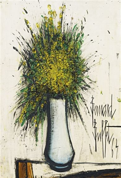 Bernard Buffet - FLEURS JAUNES; Creation Date: 1964; Medium: Oil on canvas; Dimensions: 25.5 X 18 in (64.77 X 45.72 cm)