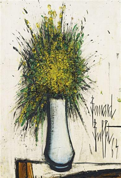 Bernard Buffet - FLEURS JAUNES; Creation Date: 1964; Medium: Oil on canvas; Dimensions: 25.5 X 18 in (64.77 X 45.72 cm)