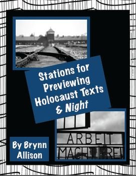 Included are six station activities which can be used in a English Language Arts or history classroom. Four stations are focused on introducing the Holocaust and the related text you will be reading. The final two stations are focused on specifically introducing the characters in and author of Night. Blank station directions and manipulatives are included so that you can create your own stations if desired. Activities include analyzing photos and free writing based on a novel cover image.