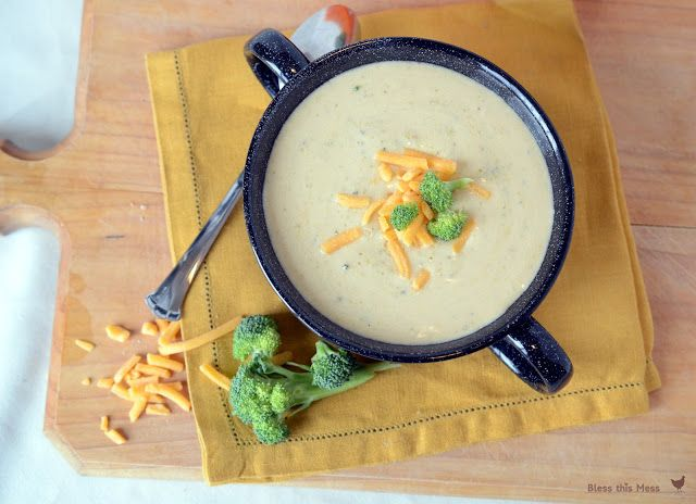 Cheesy Broccoli Soup in the Crock Pot - throwing it in now!