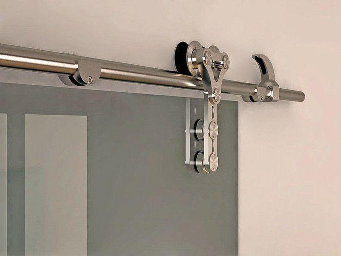 6 6 ft modern stainless steel interior sliding barn glass for Interior sliding door track system