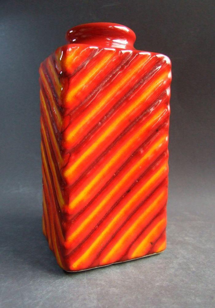 GMUNDNER KERAMIK Vase Austria midcentury vintage 70s fat Lava orange red yellow | eBay
