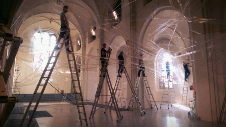 TAPE Copenhagen by Numen/For Use - installation day 2 at Nikolaj Kunsthal in Copenhagen. Exhibition on from August 15-23, 2015