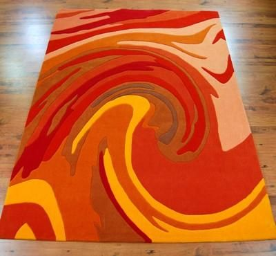 Action Painting 4018 29 Terracotta Rugs Online At Modern Uk