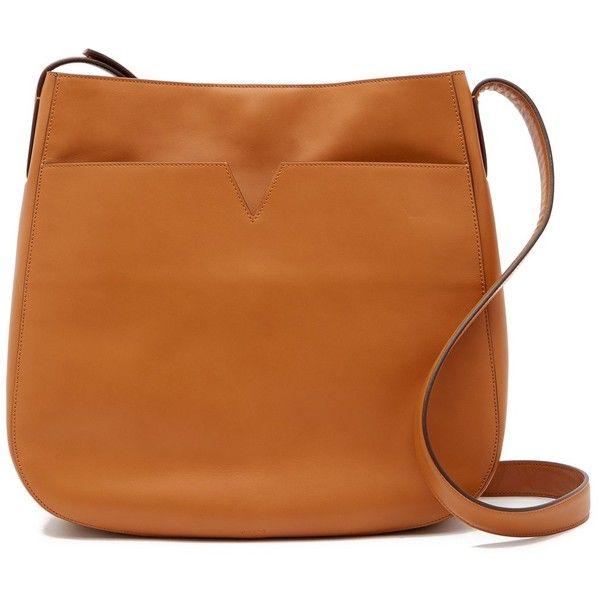 Vince Signature V Medium Leather Messenger Bag (715 PEN) ❤ liked on Polyvore featuring bags, messenger bags, luggage, brown leather bag, genuine leather messenger bag, leather courier bag, zipper bag and vince bag