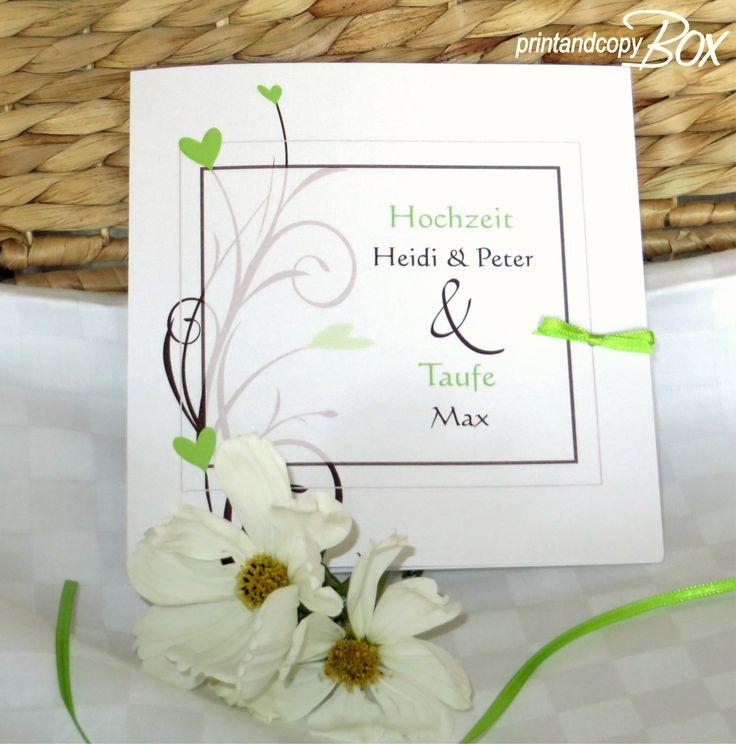 Hübsche Einladungskarte Zur Hochzeit Mit Taufe.