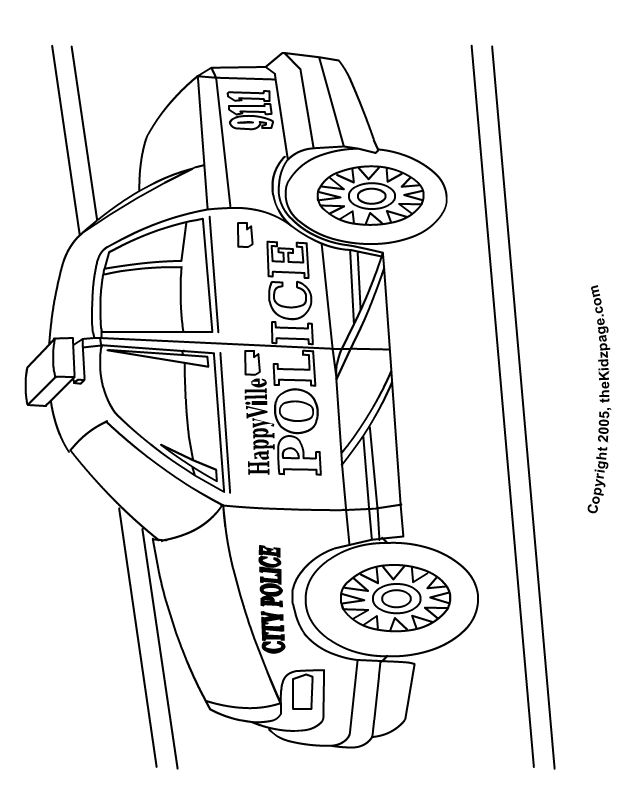 Police Car - Free Coloring Pages for Kids - Printable Colouring Sheets