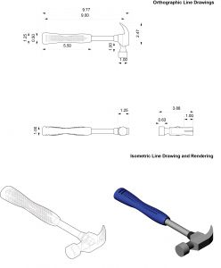 Orthographic & isometric drawings of a hammer