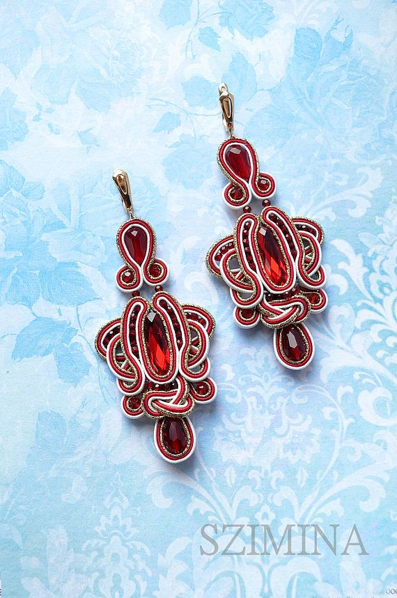 0d1f98110 Red Soutache earrings/ Soutache earrings/ Handmade earrings/ Boho ...