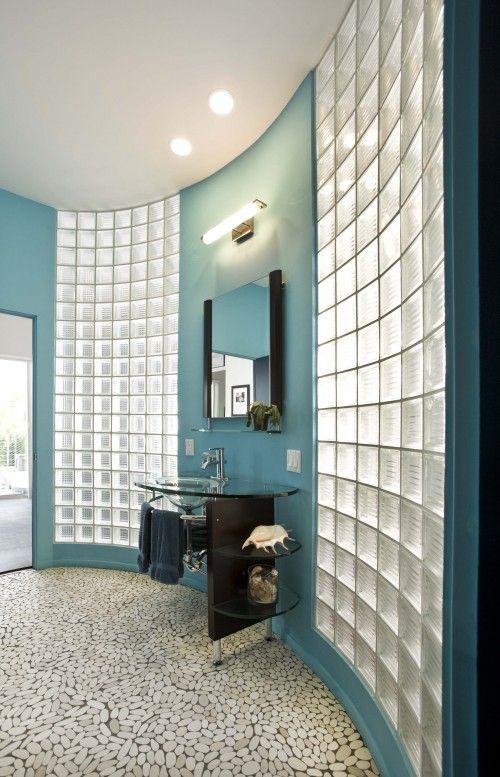 block windows in bathroom? Love the river stones on the floor..very nice