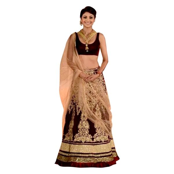 Buy Shilpa Shetty Designer Embroidered Maroon Lehenga Choli Online at cheap prices from Shopkio.com: India`s best online shoping site