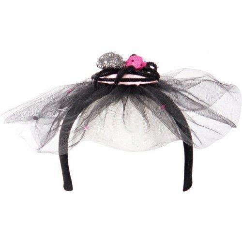 Tiara Black Veil with Black Spider