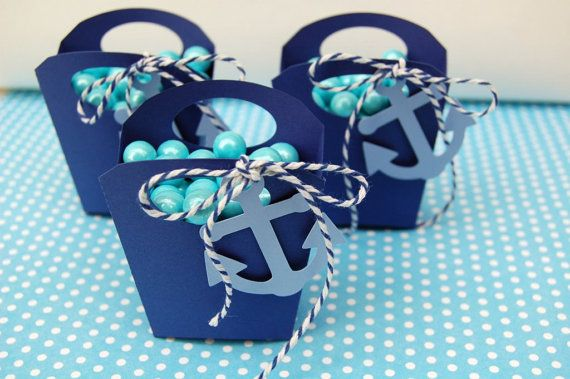 12 Navy anchor nautical favor treat box handle box by urbansavanna
