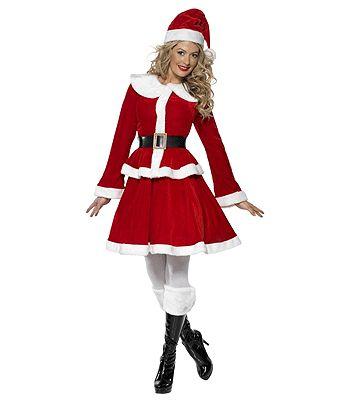 Compleet kerst kostuum voor dames. Dit rood met witte kerst kostuum voor dames bestaat uit een jasje, rok, riem en kerstmuts. Het kerst kostuum is van goede kwaliteit. Materiaal: 100% polyester.