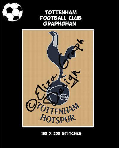 Tottenham Football Club logo crochet graphghan blanket pattern by ElizaGraphDesign on Etsy