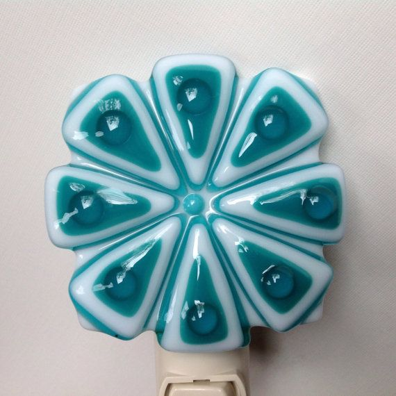 Fused Glass Teal Flower Night Light