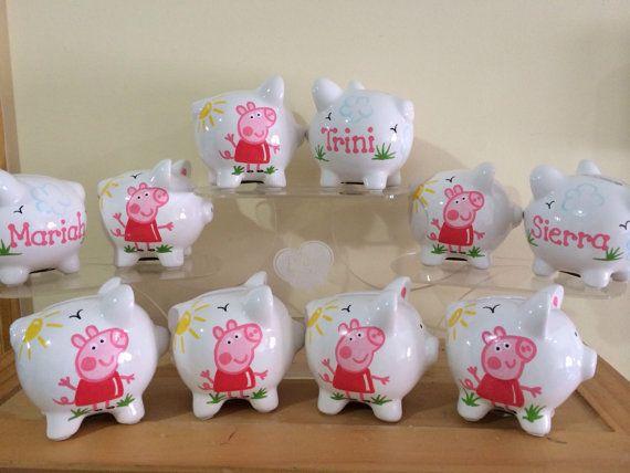 Peppa Pig personalizado fiesta Favor huchas por KUTEKUSTOMKREATIONS