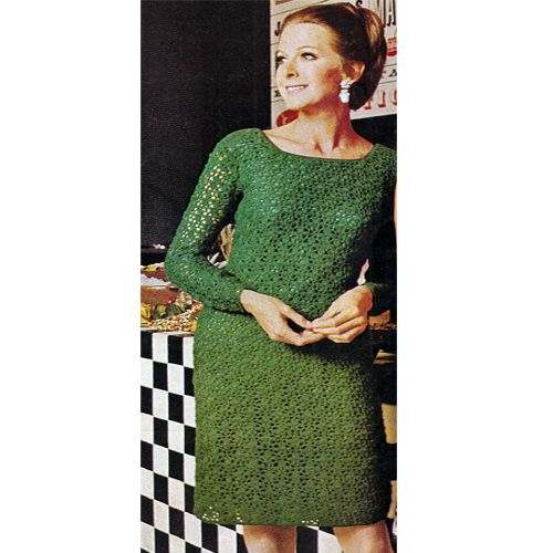 Allover Lace Crochet Evening Dress Pattern Long Sleeves.   The dress is crocheted in an allover lace motif. Slim long sleeves, squared neckline lend formality to a relaxed fit. Slips on like a sweater.