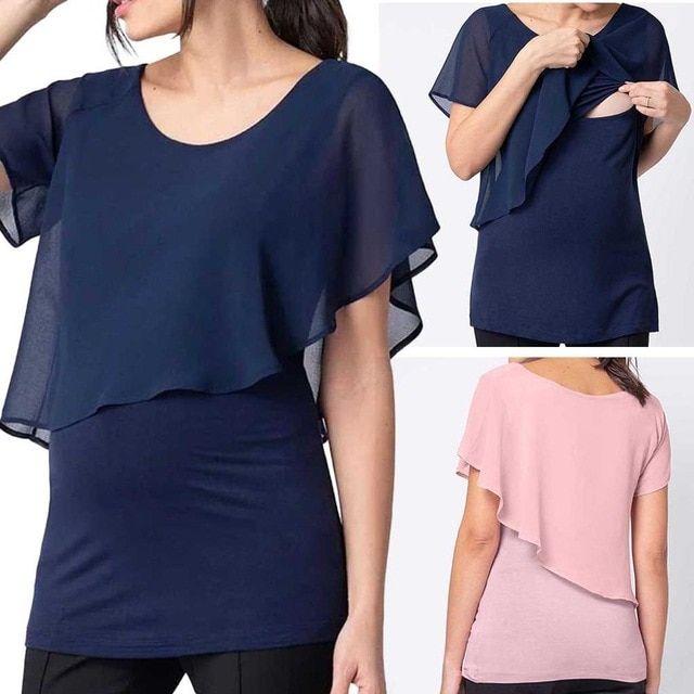 Breastfeeding Nursing Pregnant Maternity Short Sleeve Shirt Dress Summer Clothes