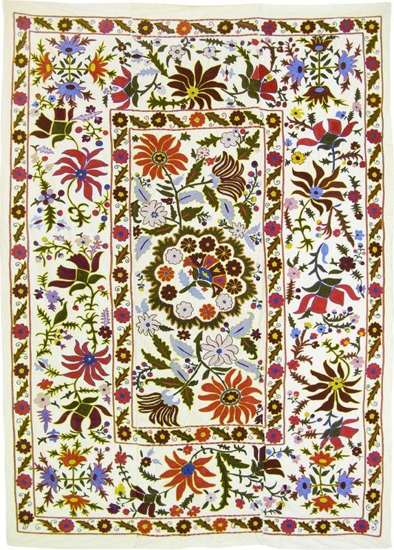 hook embroidered suzani from uzbekistan
