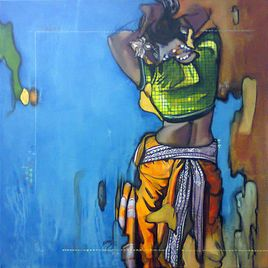 Ramchandra Kharatmal Beauty-16 Lot no: 64549 Acrylic & Charcoal On Canvas Size(inches): 30X30 Shipping Condition: Rolled INR 45,000 / $811