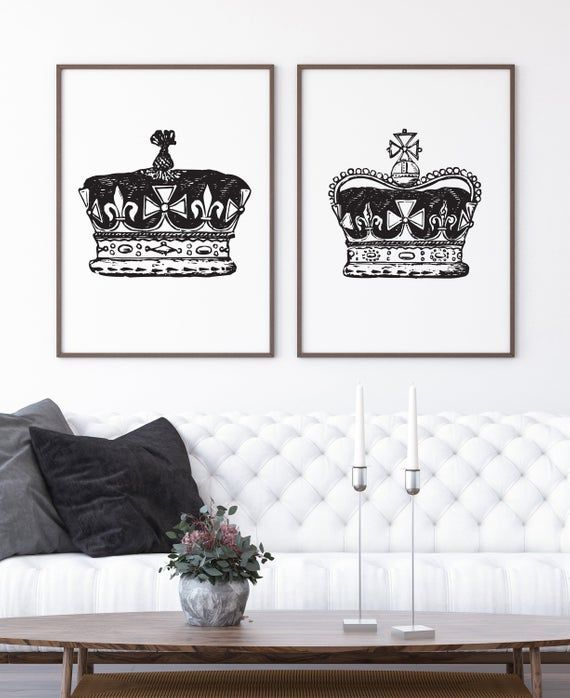 King And Queen Above Bed Wall Decor Royal Crown His And Hers