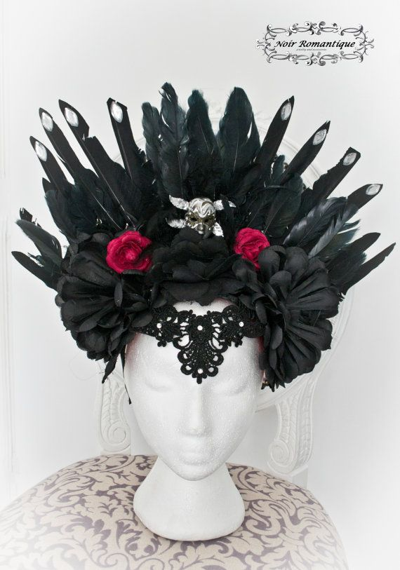 Black vampire gothic  feather headpiece-Wgt by NoirRomantique