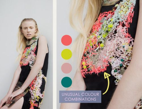 Embellishment and Painterly Prints at NIHL   The Cutting Class. NIHL by Neil Grotzinger, Graduate Collection, SS14, Image 9. Unusual colour combinations used within the beading.